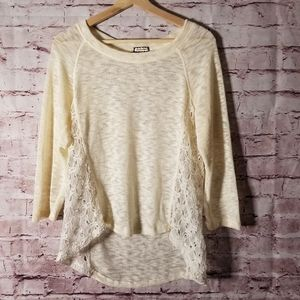 I shadow lace accent sweater